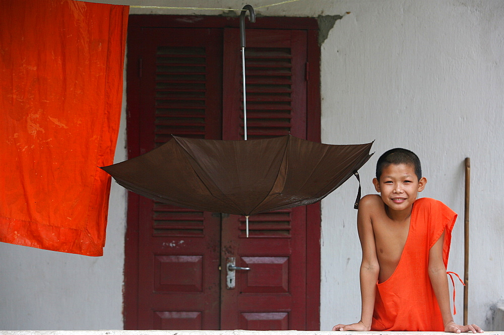 Young Buddhist monk, Luang Prabang, Laos, Indochina, Southeast Asia, Asia