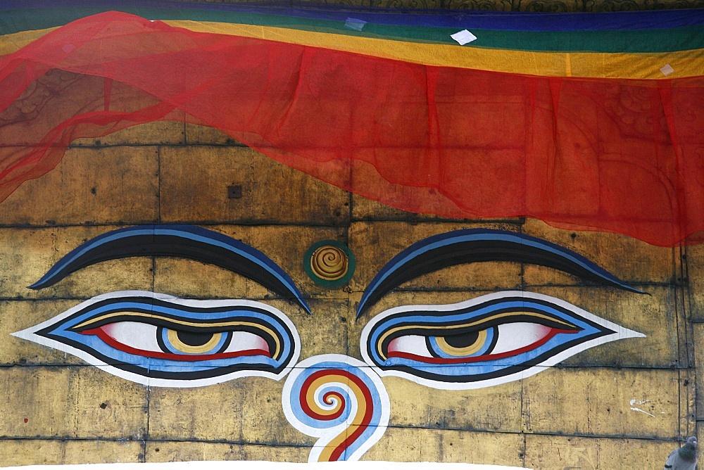 The eyes of Buddha on Swayambhunath Temple (Monkey Temple), UNESCO World Heritage Site, Kathmandu, Nepal, Asia