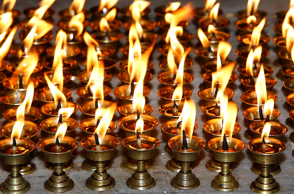 Butter lamps, Patan, Nepal, Asia