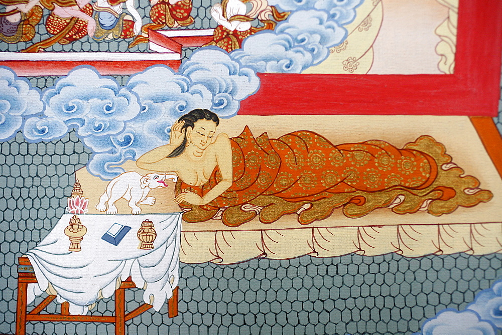 Thangka painting of Buddha's mother dreaming of a white elephant, Bhaktapur, Nepal, Asia