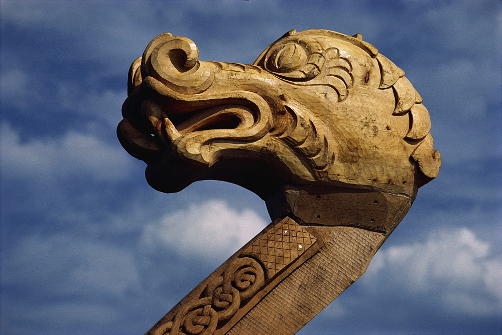 Detail of replica Viking ship Aker Brygge, Oslo, Norway, Scandinavia, Europe