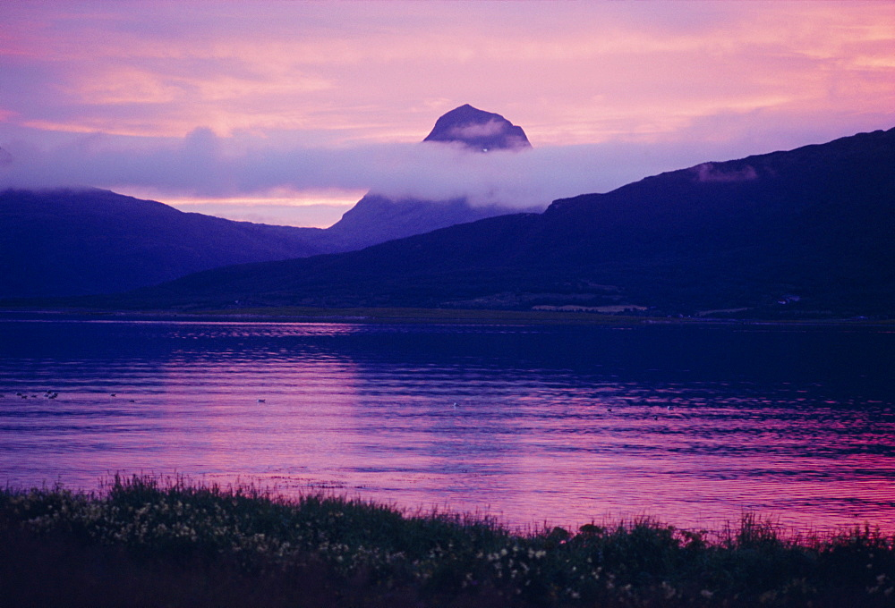 Midnight sun at Nesna, Norway, Scandinavia, Europe
