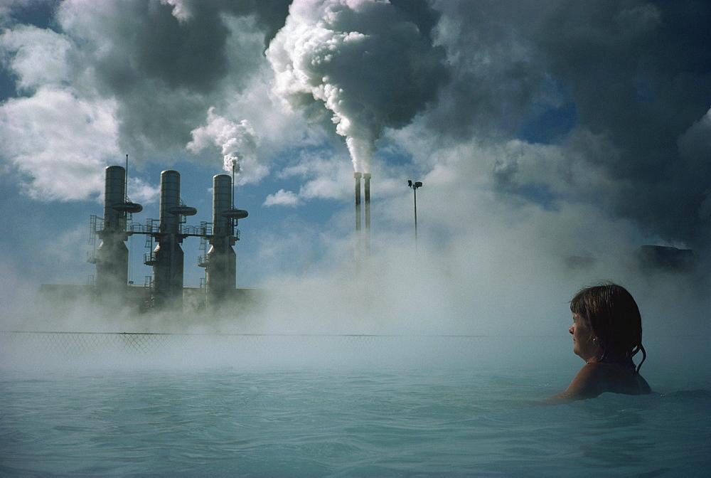 Bathing in Blue Lagoon, Svartsenga Geo-Thermal Plant, Iceland, Polar Regions - 81-694