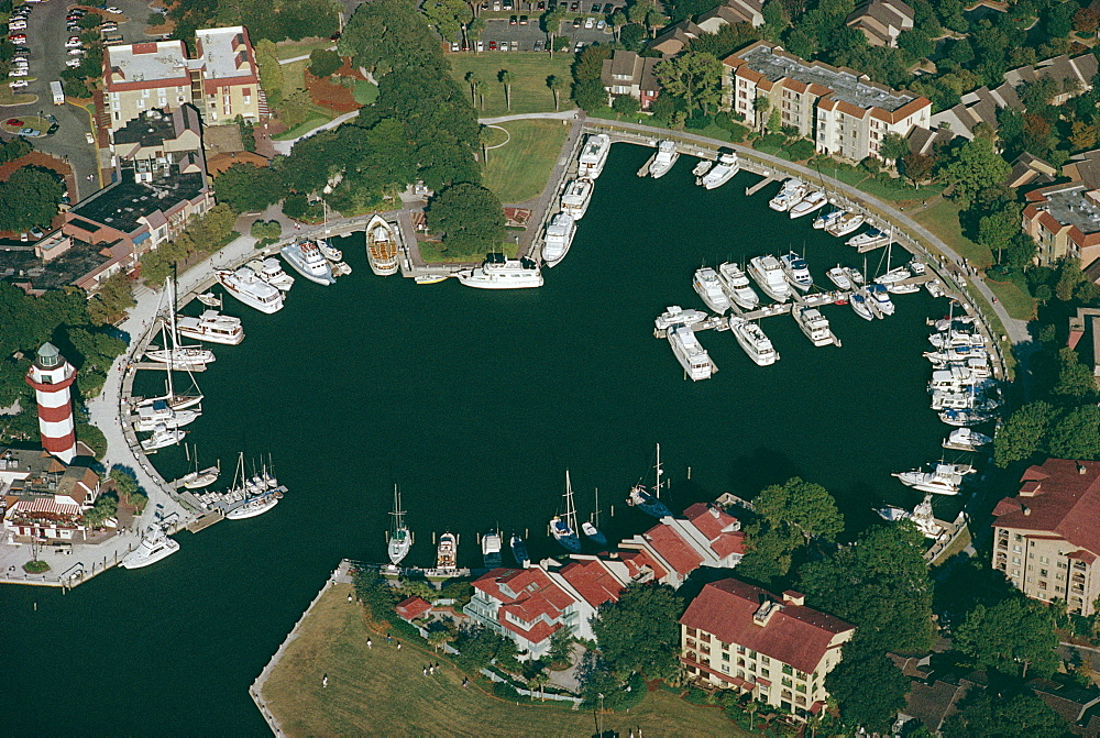 Aerial view of Hilton Head harbour town, South Carolina, United States of America (U.S.A.), North America