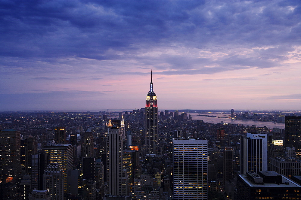 Manhattan skyline at dusk, New York City, New York, United States of America, North America - 812-118