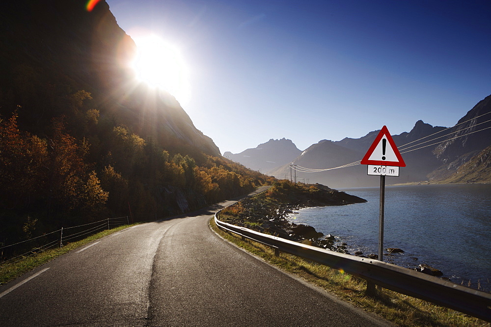 Deserted road Lofoten Islands, Norway, Scandinavia, Europe - 812-126