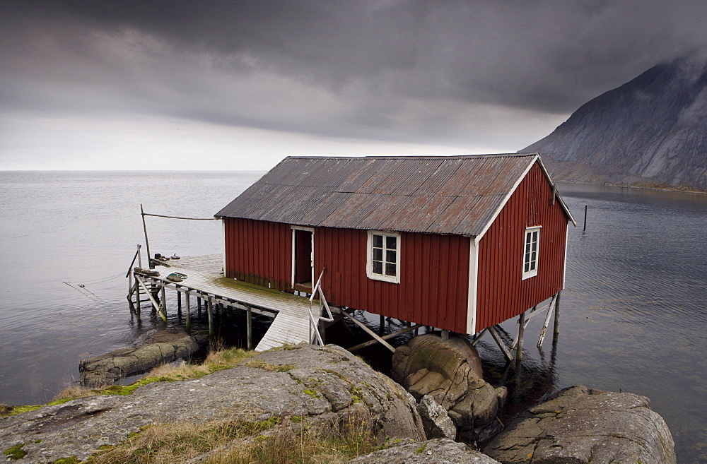 Rorbu (fisherman's hut) on stilts by fjord, Lofoten Islands, Norway, Scandinavia, Europe