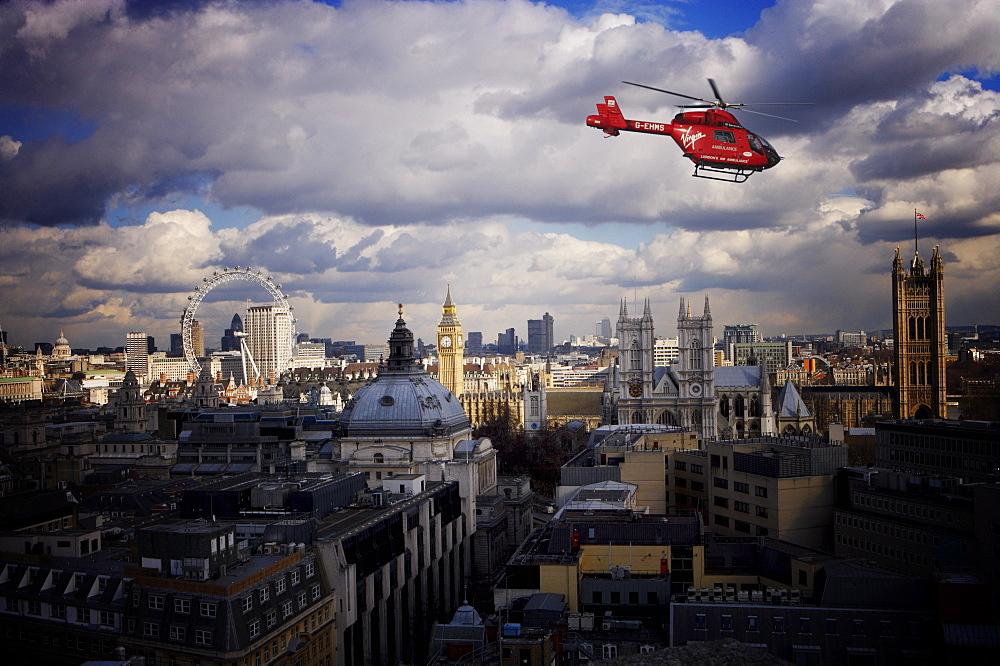 London air ambulance over Westminster, London, England, United Kingdom, Europe