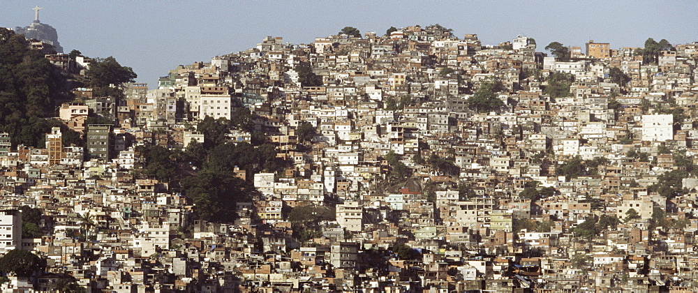 Favelas in front of Christ the Redeemer, Rio de Janiero, Brazil, South America - 812-87