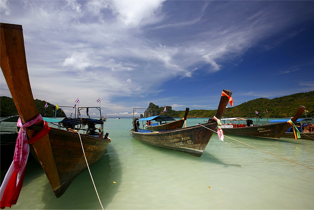 Long tail taxis in a small bay of the Krabi Gulf, Thailand, Southeast Asia, Asia