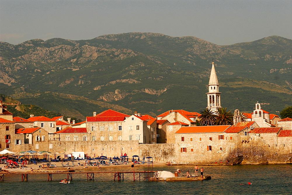 One of the beaches under the walls of Budva, Montenegro, Europe
