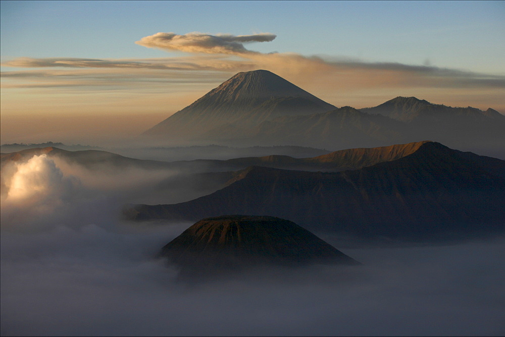 View at dawn over the Bromo and Semeru volcanoes, in the Tennger caldera, Java, Indonesia, Southeast Asia, Asia