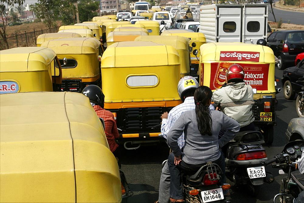 A traffic jam in Bangalore, Karnataka, India, Asia