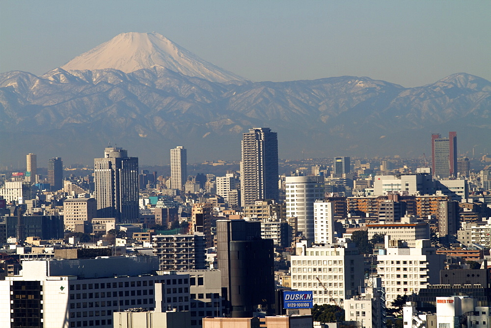 View over city of Tokyo and Mount Fuji, Tokyo, Japan, Asia