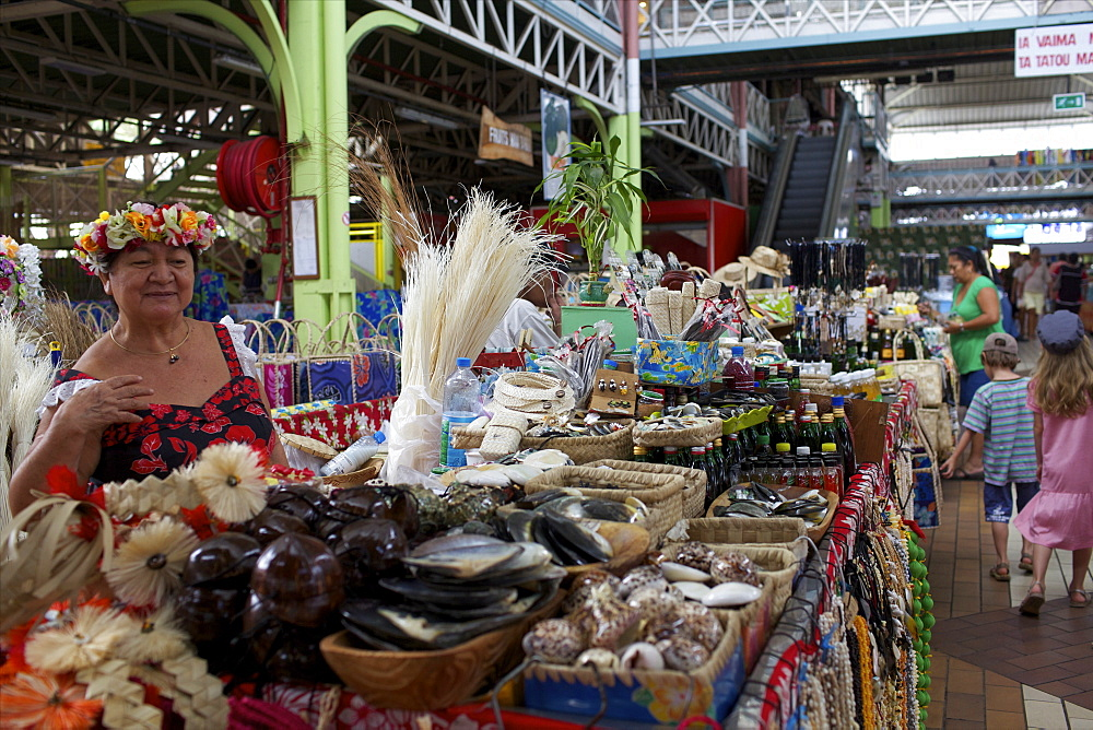 The central Market of Papeete in Tahiti, Society Islands, French Polynesia, Pacific Islands, Pacific - 814-1495