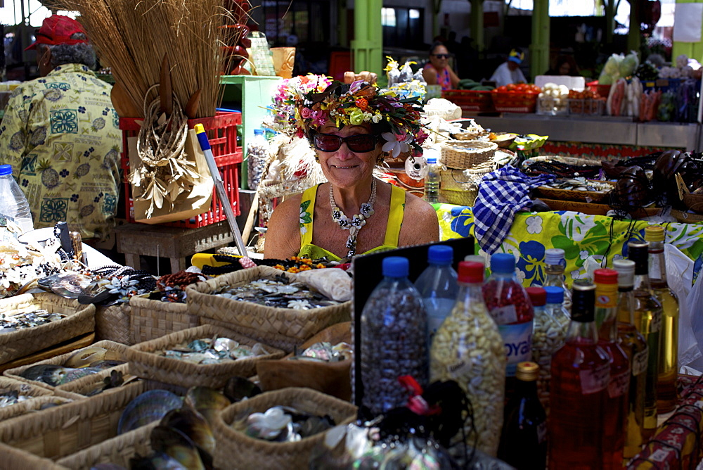 The central Market of Papeete in Tahiti, Society Islands, French Polynesia, Pacific Islands, Pacific - 814-1496