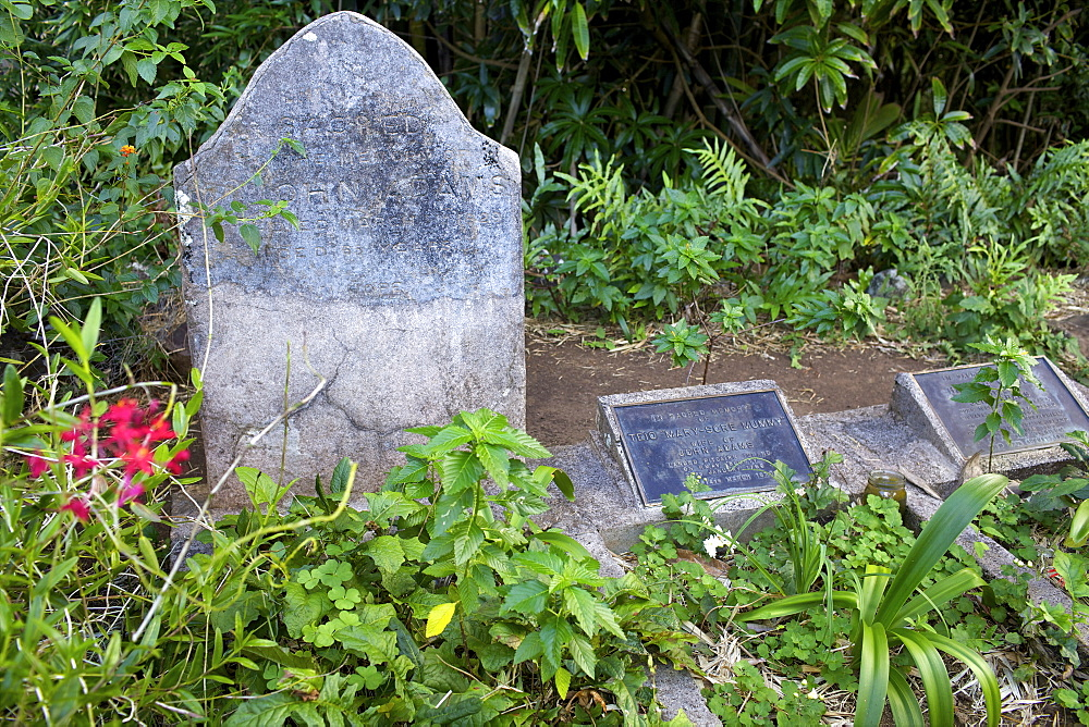The grave of John Adams, Pitcairn Island, Pacific