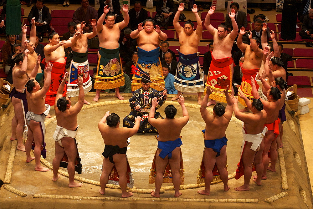 Sumo competition at the Kokugikan stadium in Tokyo, Japan, Asia - 814-1522