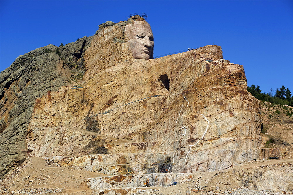 The statue of Lakota Oglala chief Crazy Horse sculpture at Crazy Horse Memorial, Black Hills, South Dakota, United States of America, North America - 814-1576