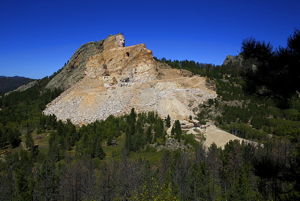 View of Lakota Oglala Crazy Horse Memorial, biggest sculpture in the world, South Dakota, United States of America, North America - 814-1577