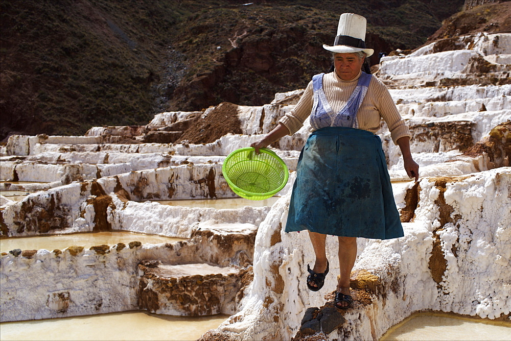 People working in the Salinas de Maras, Sacred Valley, Peru, South America - 814-1590