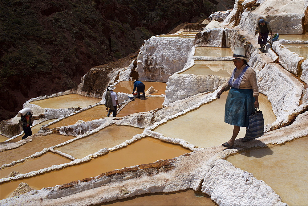 People working in the Salinas de Maras, Sacred Valley, Peru, South America - 814-1595