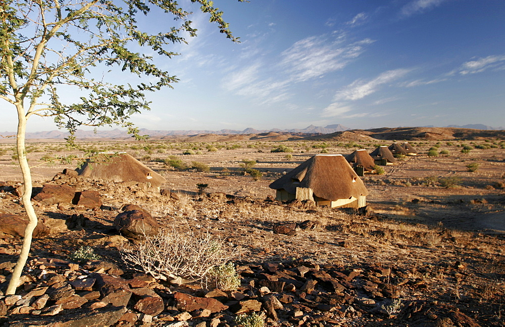 The tented bungalows of the Kalahari Sands Hotel, Namibia, Africa