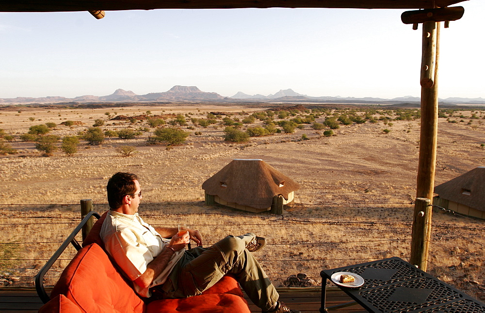 From the terrace of the lounge, view of the bungalows of the  Kalahari Sands Hotel, Namibia, Africa