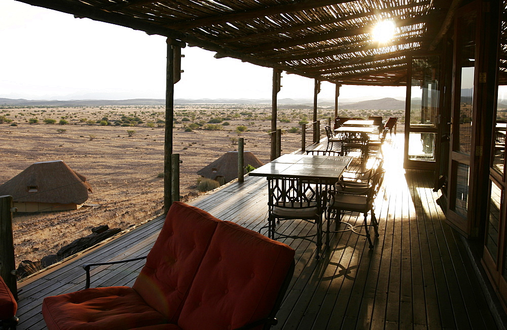 The Damaraland mountains seen from the terrace of the Kalahari Sands Hotel, Namibia, Africa