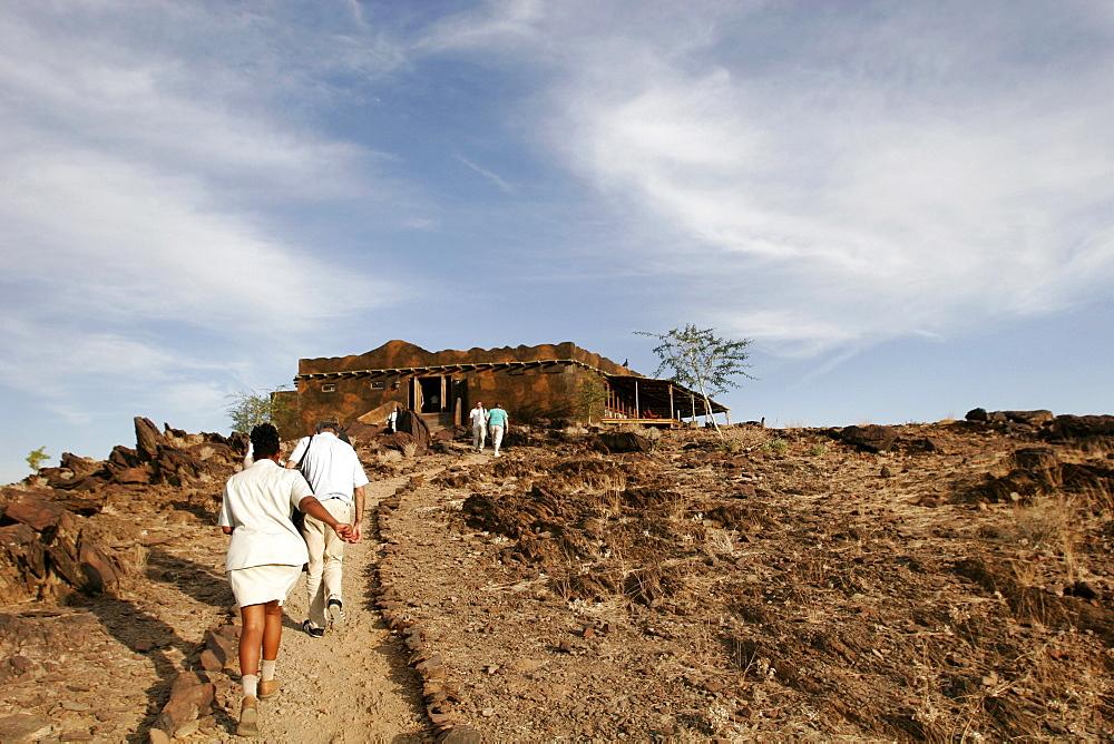 The entrance of the Kalahari Sands Hotel, close to Damaraland, Namibia, Africa