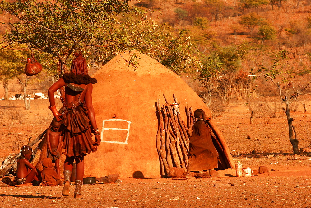 Himba village, close to the border with Angola, in the Kunene River country, Namibia, Africa