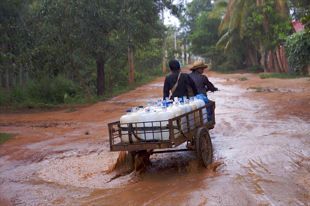 Heavy rain in the streets of Siem Reap, Cambodia, Indochina, Southeast Asia, Asia