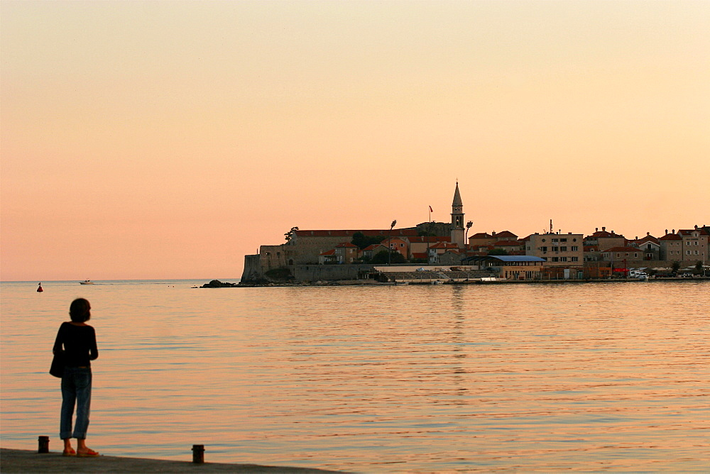 The small city of Budva in the sunset, Montenegro, Europe