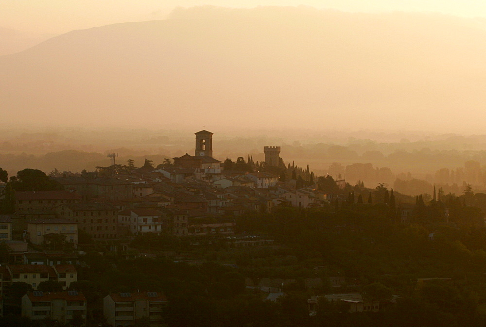 The village of Torgiano in the dawn light, in the Umbrian landscape around Perugia, seen from a balloon, Umbria, Italy, Europe
