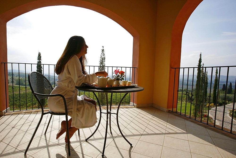 The terrace of an apartment of the hotel Relais Borgo Brufa, Umbria, Italy, Europe - 814-724