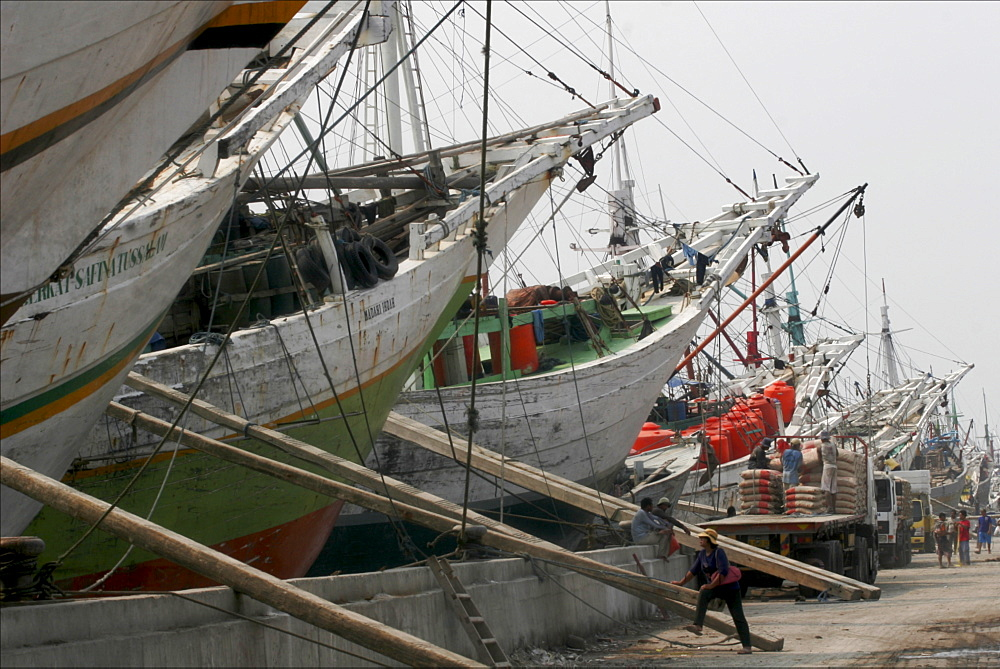 Traditional wooden schooners in Sunda Kelapa,  the harbour of Jakarta, Java, Indonesia, Southeast Asia, Asia