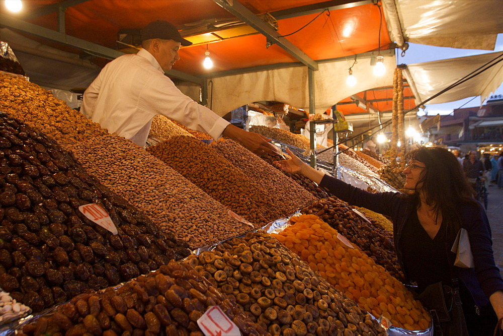 Dried fruit seller on the Jemaa el Fna square in Marrakech, Morocco, North Africa, Africa