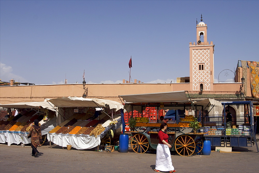 Djemaa El Fna square in Marrakech, Morocco, North Africa, Africa