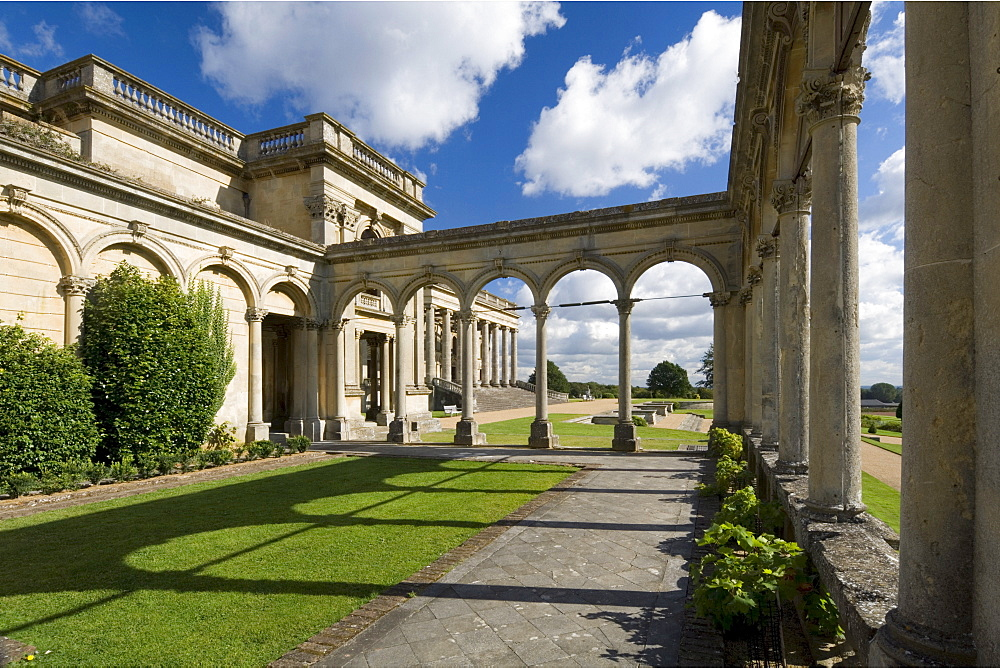The conservatory or orangery looking along the south front, Witley Court, Worcestershire, England, United Kingdom, Europe