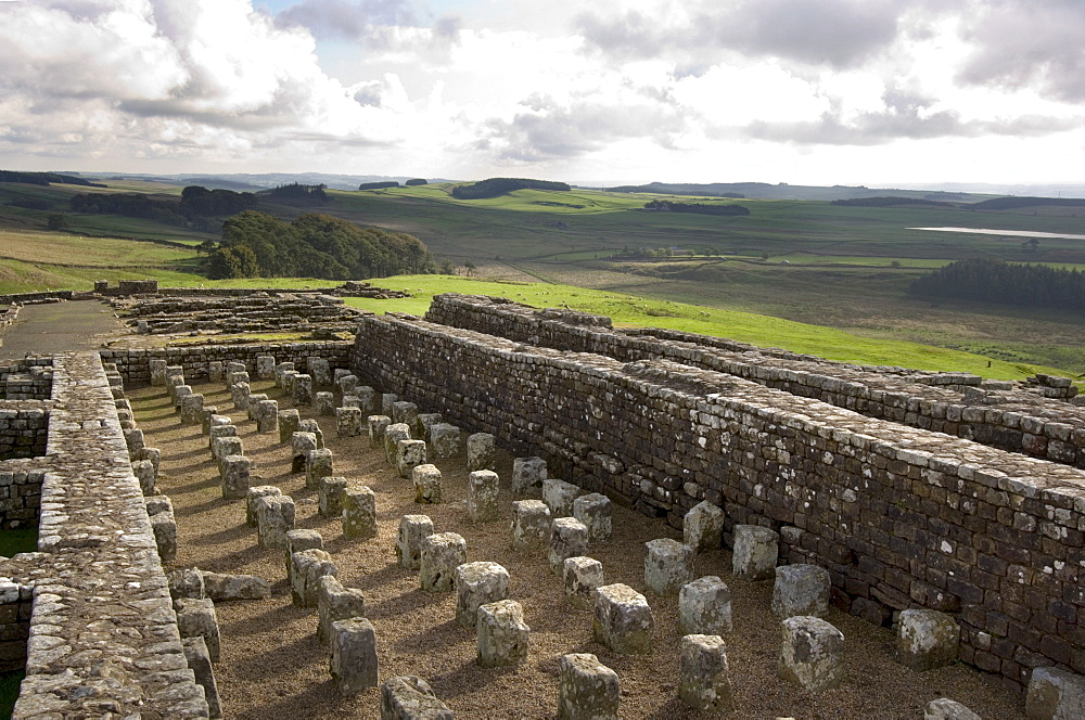 General view of the north granary, Housesteads Vercovicium, Hadrians Wall, UNESCO World Heritage Site, Northumberland, England, United Kingdom, Europe