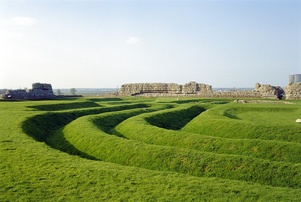 The interior of the fort showing the triple ditches in the south west section, Richborough Castle (Rutupiae), Kent, England, United Kingdom, Europe