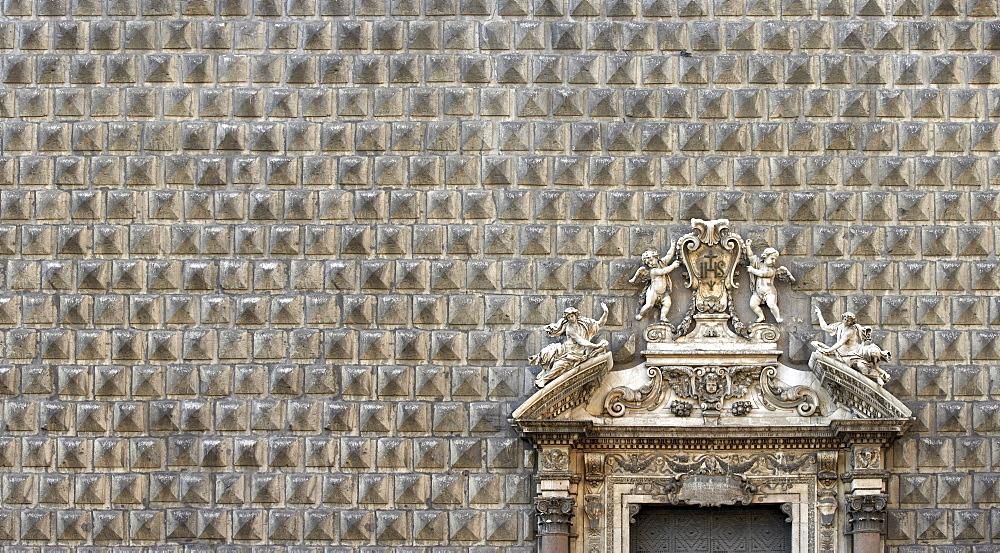 Palazzo Sanseverino now housing the Chiesa del Gesu Nuovo, rusticated facade and broken pediment, Naples, Campania, Italy, Europe
