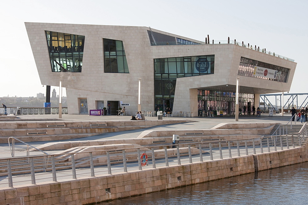 The new Ferry Terminal Building and a new branch of the Beatles Story Museum at the The Canal Link, Pier Head in Liverpool, Merseyside, England, United Kingdom, Europe