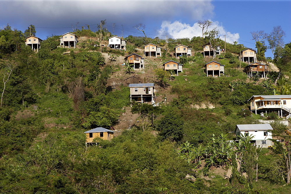 Small hillside houses built on stilts, Grenada, Windward Islands, West Indies, Caribbean, Central America