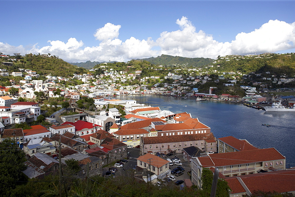 BirdÔøOs eye view over rooftops to sea, St. George's, Grenada, Windward Islands, West Indies, Caribbean, Central America
