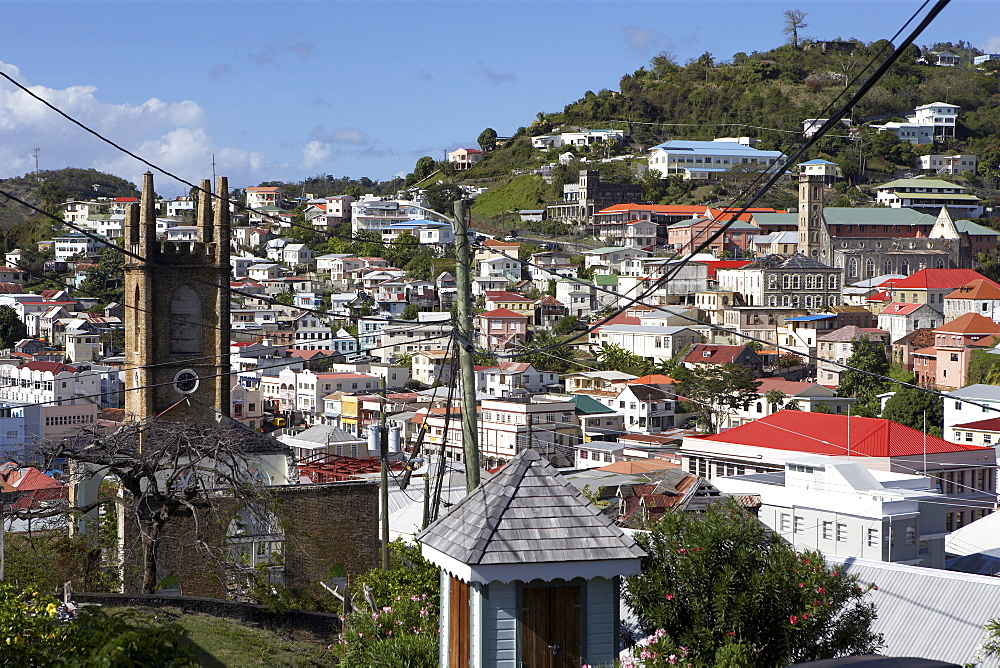 General view of rooftops and church tower, St. George's, Grenada, Windward Islands, West Indies, Caribbean, Central America