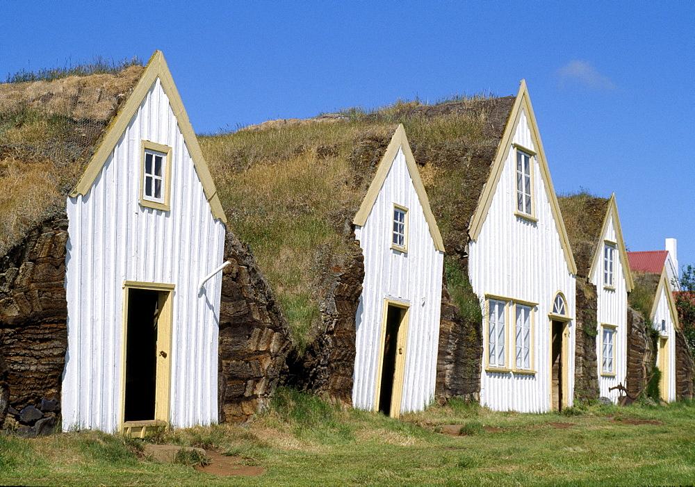 Glaumbaer (turf houses with grass roofs), Iceland, Polar Regions