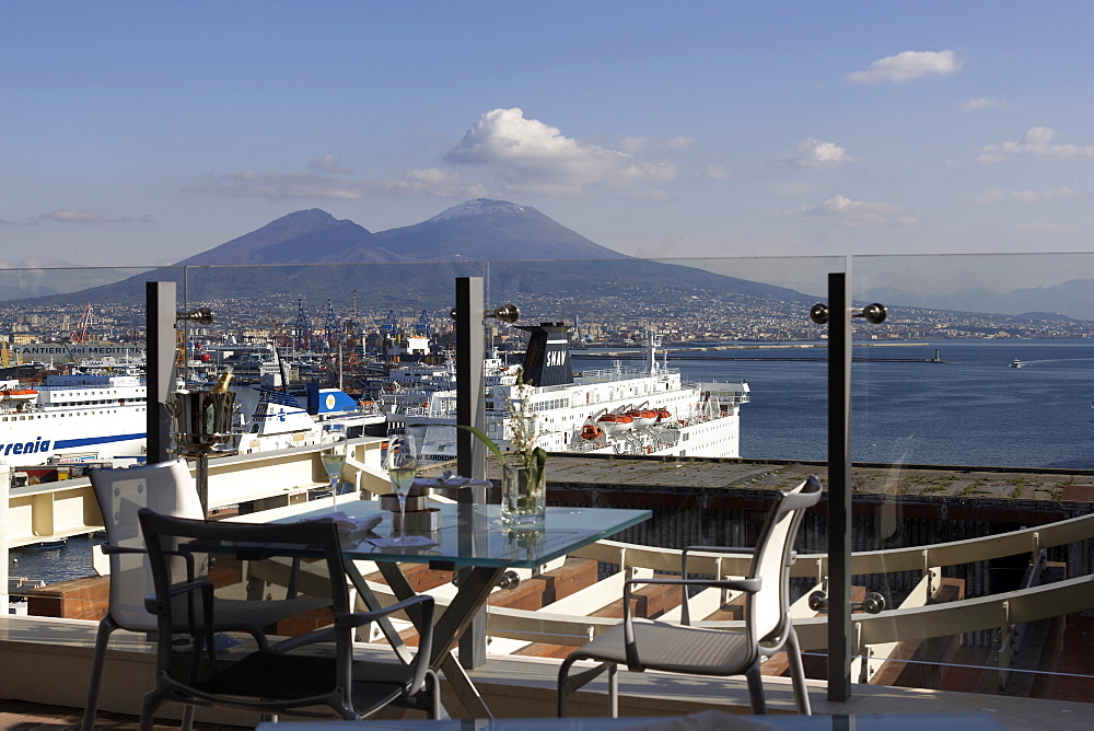 Hotel Romeo restaurant terrace and Mount Vesuvius, Naples, Campania, Italy, Europe - 815-2137