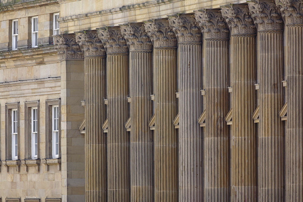 Neo-classical facades with corinthian columns, Grey Street, Newcastle Upon Tyne, Tyneside, England, United Kingdom, Europe - 815-2207