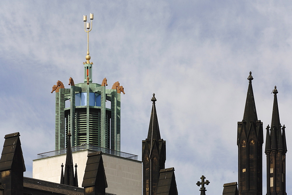 Tower of Newcastle Civic Centre with seahorses, and spires of Church of St. Thomas the Martyr, Newcastle Upon Tyne, Tyneside, England, United Kingdom, Europe - 815-2209